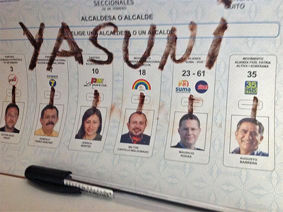 Un voto para la Amazonía, una firma por el Yasuní