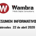 Corona Virus Ecuador – resumen miércoles, 22 de abril de 2020