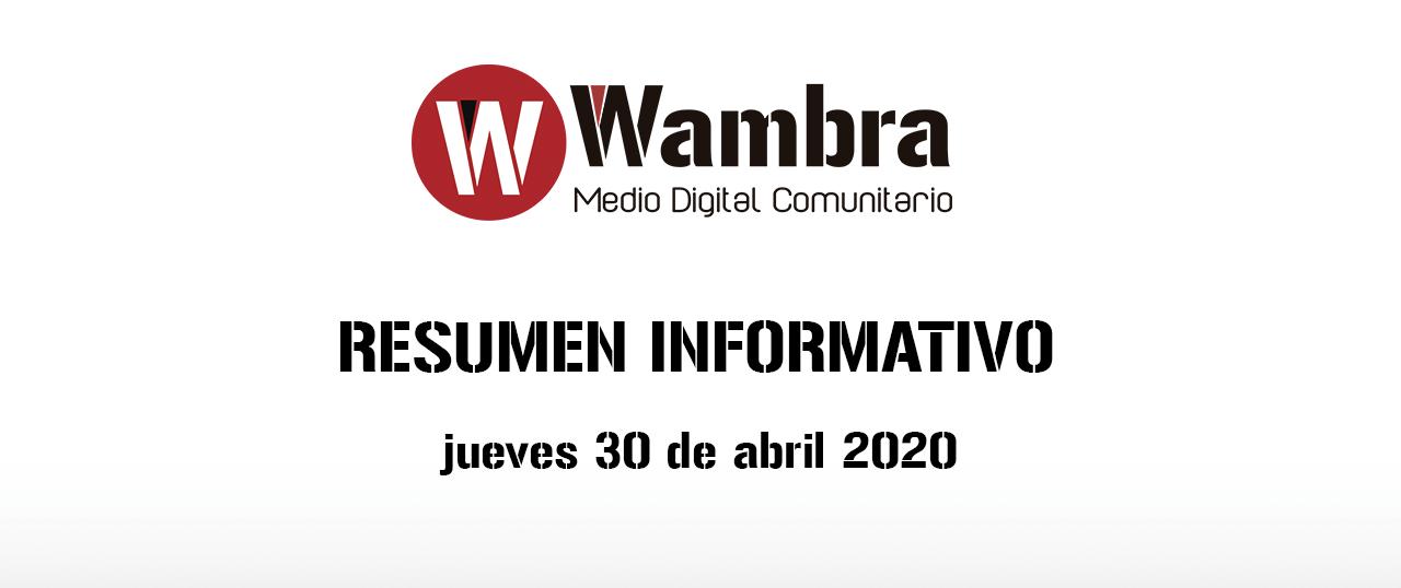Corona Virus Ecuador – resumen jueves, 30 de abril de 2020