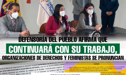 Defensoría del Pueblo afirma que continuará con su trabajo, mientras organizaciones de derechos y feministas se pronuncian