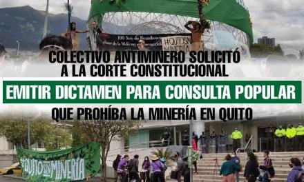 Colectivo antiminero solicitó a la Corte Constitucional emitir dictamen para consulta popular que prohíba la minería en Quito