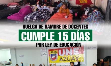 Huelga de hambre de docentes cumple 15 días por Ley de Educación